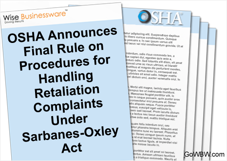 OSHA Announces Final Rule on Procedures for Handling Retaliation Complaints Under Sarbanes-Oxley Act